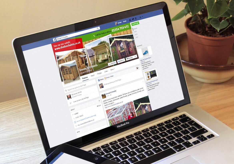 Sheds N Chalets Facebook brand design